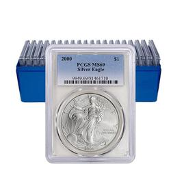 PCGS MS69 Run of 10 Silver Eagles 2000-2009