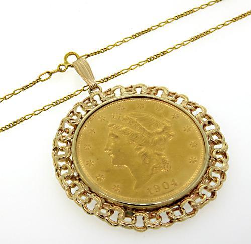 Charlotte Nc Sales Tax >> US 1904 $20 Liberty Gold Coin Pendant | usauctiononline.com