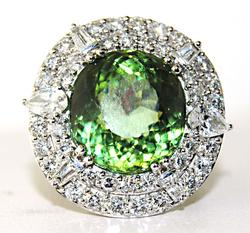 Tourmaline & Diamond Ring in 18kt Gold