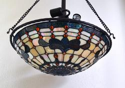 Beautiful Pre-Owned Tiffany Style 3 Light Hanging Lamp