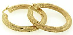 Twisted Hoop Earrings in 14K