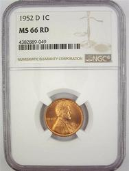 Exceptional Gem BU 1952 D Lincoln Cent NGC Graded MS 66