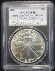 2003 Silver Eagle PCGS Signed By Fame POW Jessica Lynch