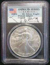 2004 Silver Eagle MS 69 PCGS Lance Armstrong Signed