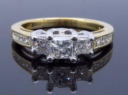 14K Yellow Gold .91CTW Diamond Ring
