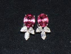 18kt Gold, Pink Tourmaline, & Diamond Earrings
