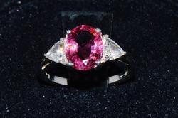 Pink Tourmaline & Diamond 18kt Gold Ring