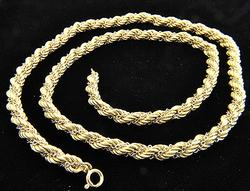 6mm and 40+gram 18kt White & Yellow Rope Style Chain