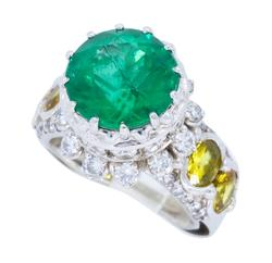 Stunning & Unique Emerald and Diamond Cocktail Ring