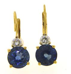 Sapphire & Diamond Earrings, 14K