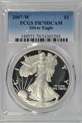 Flawless PRF 2007-W $1 Silver Eagle. PCGS PR70DCAM
