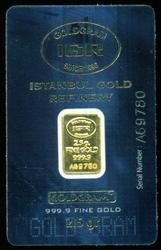 Istanbul Gold Refinery 2.5 gram .9999 gold bar in card