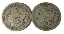 1882 O and 1901 O Raw Morgan dollars