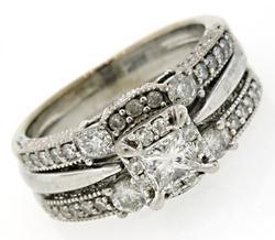 Diamond Cluster Bridal Set