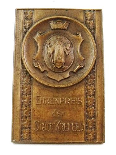 rare 1931 german krefeld exhibition bronze plaque. Black Bedroom Furniture Sets. Home Design Ideas