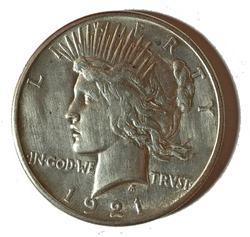 Key 1921 BU Peace Dollar