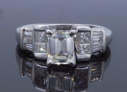 1.15CTW Emerald Cut Engagement Ring