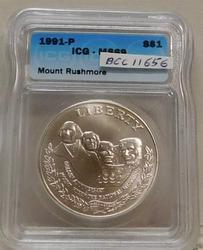 1991-P Mount Rushmore Silver Dollar ICG MS-69, Unc.