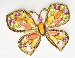 Large, Sparkly, Signed 'Monet' Multi Colored Crystals 'Butterfly' Pin