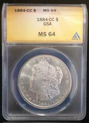 Certified 1884-CC Morgan Dollar MS 64 ANACS
