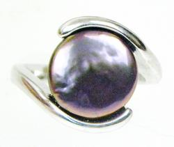 Sterling Bypass Ring with Large Peacock Coin Pearl