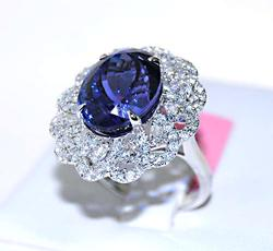 Huge 10+ct Tanzanite Ring with Diamonds