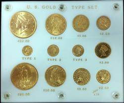 US Gold Type Set 12pc Beautiful Display Pre-1933 Gold