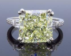 GIA Certified Natural Fancy Yellow 5.17CT Diamond Ring
