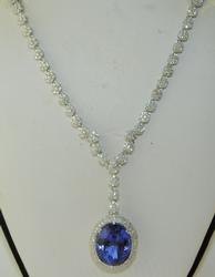 18kt Gold, Tanzanite, & Diamond Necklace