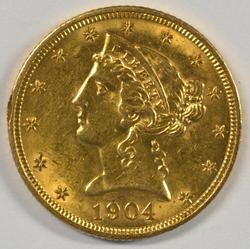 Lustrous BU 1904 US $5 Liberty Gold Piece