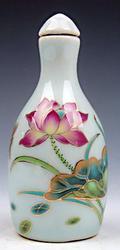 Porcelain Gold Gilt Lotus and Dragonfly Snuff Bottle