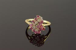 14K Yellow Gold 0.91 CTW Ruby Diamond Cluster Ring