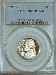 1976-S Jefferson Nickel in PCGS PR69DCAM