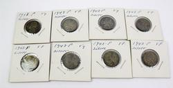 Eight 1943-P Silver Nickels