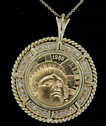 US $5 1986 Gold Coin Pendant with Diamonds