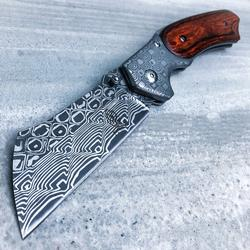 Damascus Cleaver Style Blade Spring assisted pocket knife