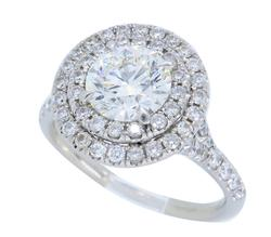 GIA 1.01 CT VS1 Diamond Double Halo Ring, Platinum
