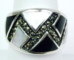 Sterling MOP, Onyx & Marcasites Wide Cigar Band Ring