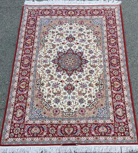 Fabulous Authentic Hand Knotted Part Silk Persian Isfahan