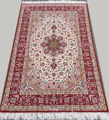 Highly Sophisticated Design Handmade Fine Part Silk Persian Isfahan, Signed