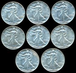 8 Assorted Near Mint Walking Liberty Half Dollars