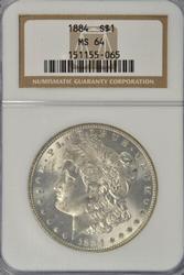 Nearly Gem BU 1884-P Morgan Silver Dollar. NGC MS64