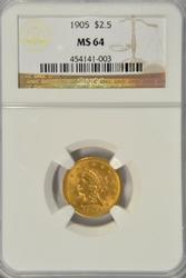 Nearly Gem BU 1905 US $2.50 Liberty Gold Piece NGC MS64