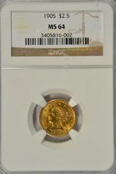 Nearly Gem BU 1905 US $2.50 Liberty Gold Piece NGC MS64