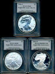 Fabulous 2006 3-pc 20th Anniversary $1 Eagles. PCGS