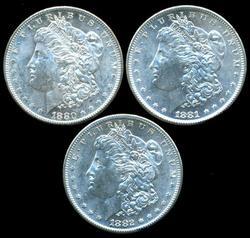 Flashy BU 1880-S, 81-S, & 82-S Morgan Silver Dollars