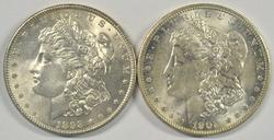 Choice BU 1898-P & 1902-O Morgan Silver Dollars