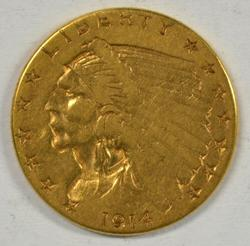 Scarce Key Date 1914-P US $2.50 Indian Gold Piece