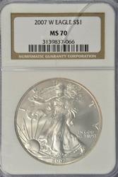 Flawless Gem BU 2007-W $1 Silver Eagle. NGC MS70