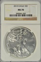 Flawless Gem BU 2015 $1 Silver Eagle. NGC MS70